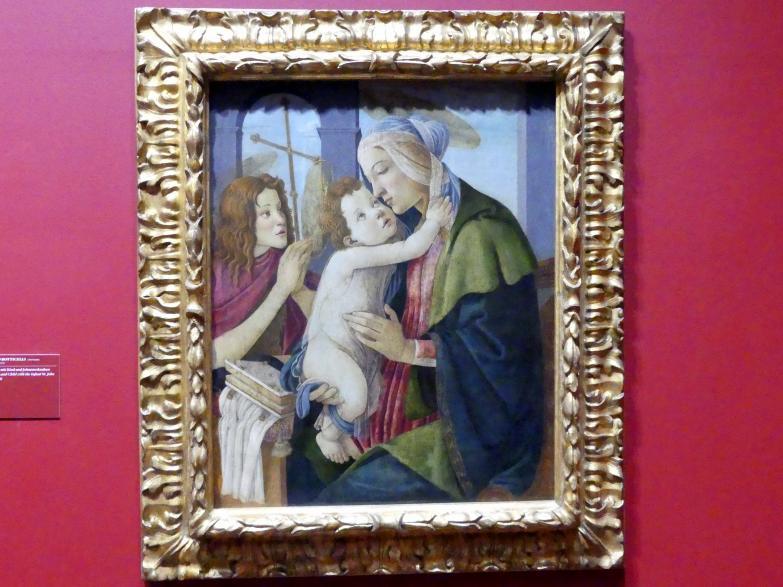 Sandro Botticelli (Werkstatt): Thronende Madonna mit Kind und den hll. Christophorus und Sebastian, 1500 - 1510
