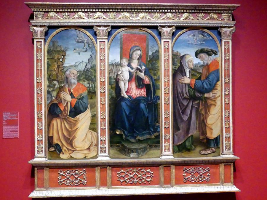 Macrino d'Alba (Gian Giacomo de Alladio): Madonna mit Kind, Verheißung an Joachim, Begegnung Joachims und Annas an der Goldenen Pforte, um 1493 - 1494