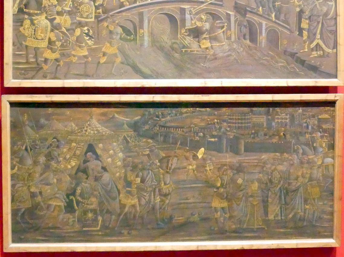 Mucius Scaevola ermordet den Sekretär Porsennas und lässt seine rechte Hand verbrennen, um 1480