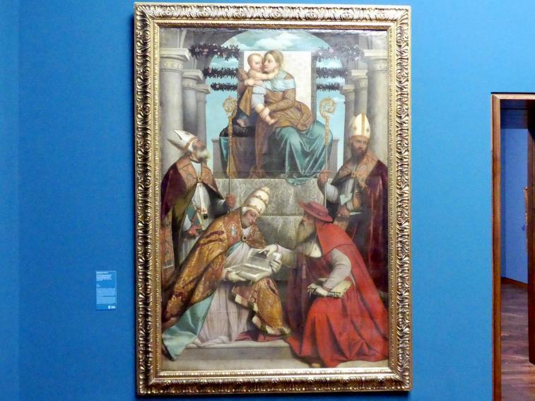 Alessandro Bonvicino (Moretto): Thronende Madonna mit Kind und den vier lateinischen Kirchenvätern, Um 1540 - 1550
