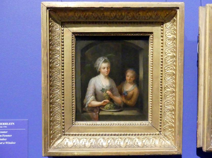 Johann Andreas Herrlein: Frau und Mädchen am Fenster, um 1770 - 1780