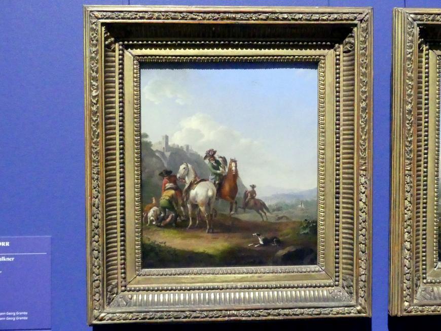 Johann Georg Pforr: Hasenhetze mit einem Falkner, 1786