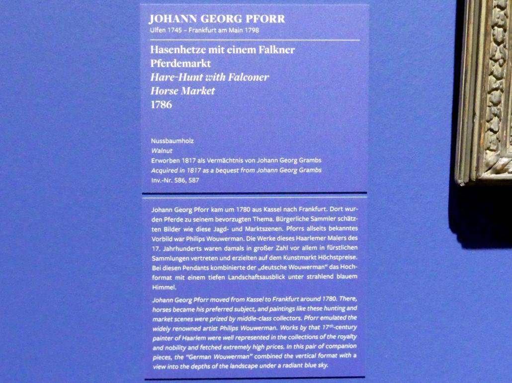 Johann Georg Pforr: Hasenhetze mit einem Falkner, 1786, Bild 3/3