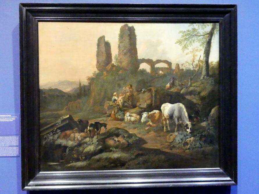 Johann Heinrich Roos: Ruhende Hirtenfamilie bei einer Ruine, 1680
