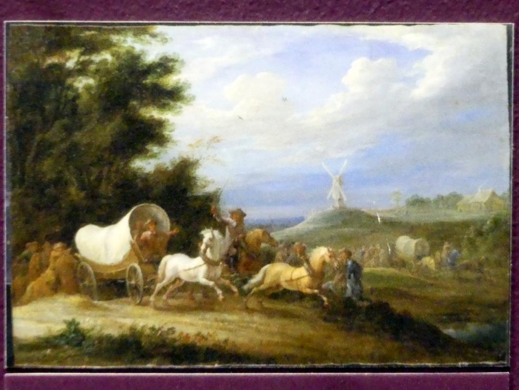 Lambert de Hondt: Landschaft mit dem Überfall einer Reitertruppe auf einen Packwagen, Um 1660