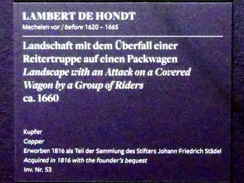 Lambert de Hondt: Landschaft mit dem Überfall einer Reitertruppe auf einen Packwagen, um 1660, Bild 3/4