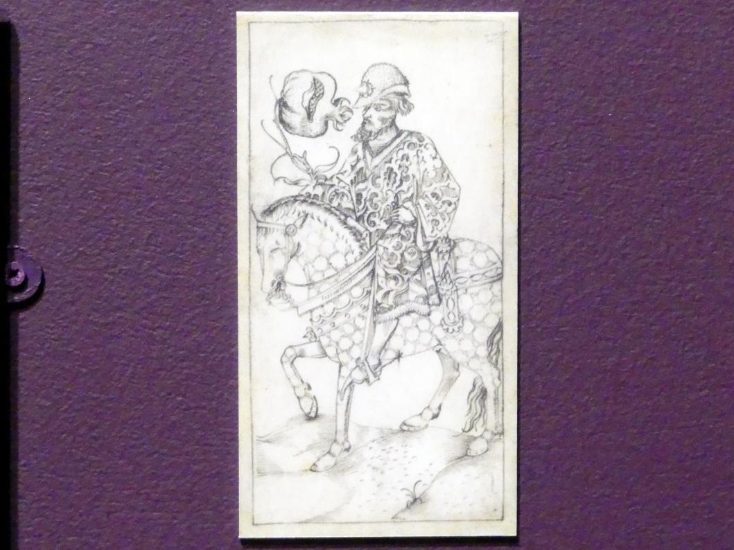 Granatapfel-Reiter oder -Ober (Trappolierkarte), Ende 15. Jhd.
