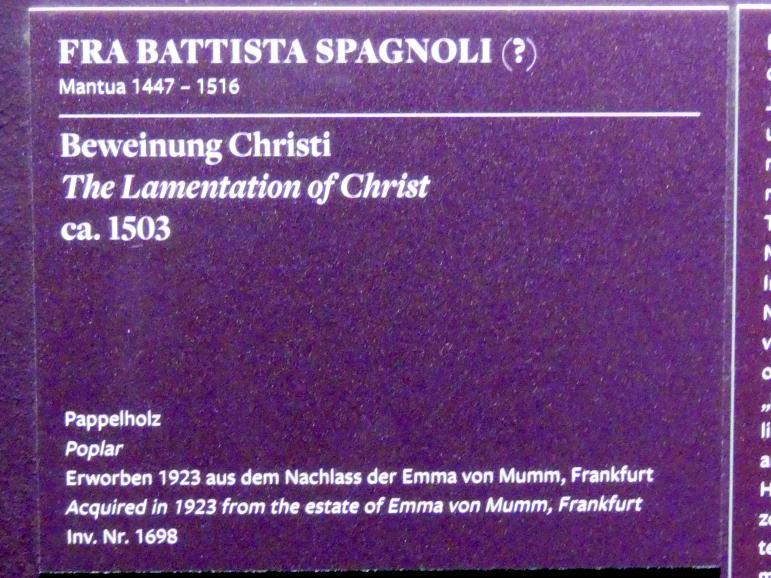 Battista Spagnoli (Battista Mantovano): Beweinung Christi, um 1503, Bild 2/3