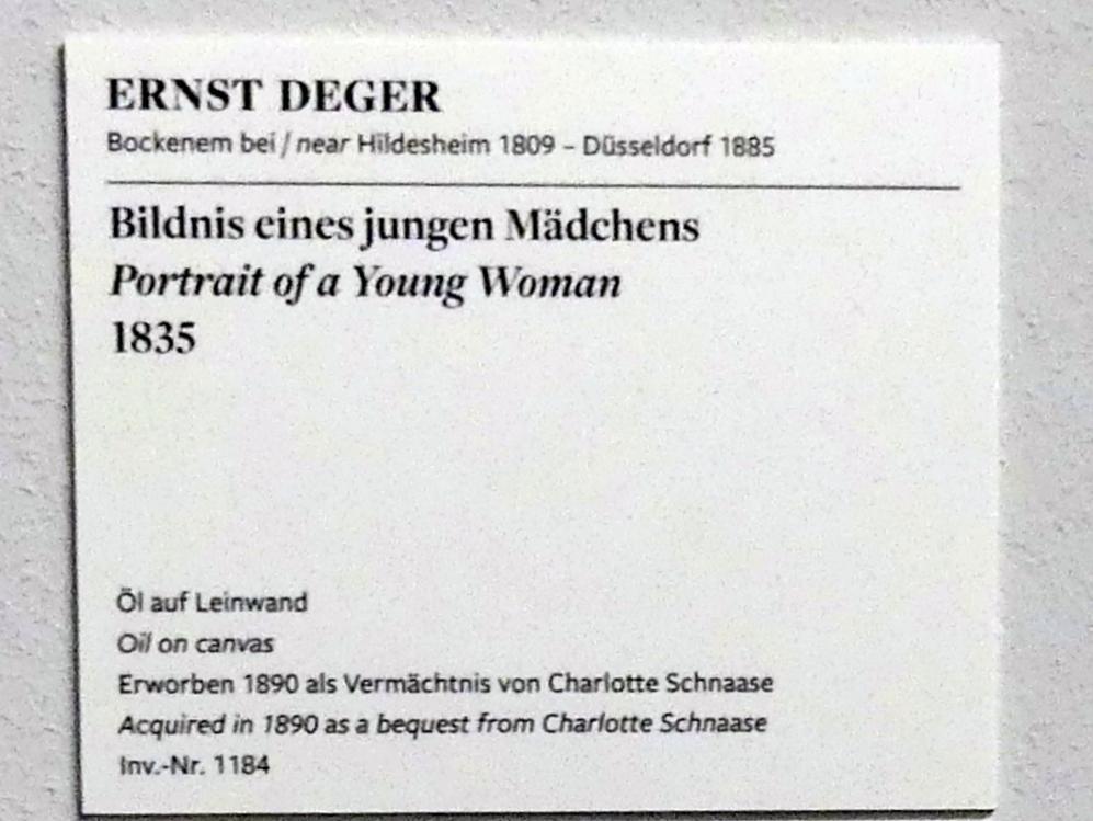 Ernst Deger: Bildnis eines jungen Mädchens, 1835, Bild 2/4