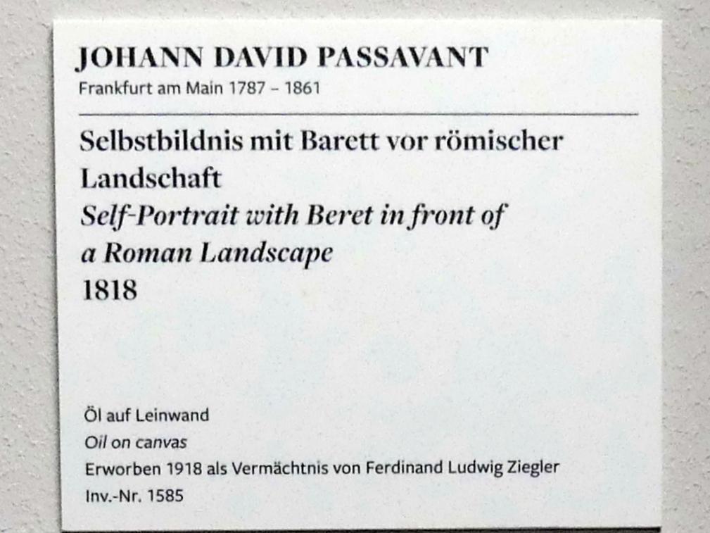 Johann David Passavant: Selbstbildnis mit Barett vor römischer Landschaft, 1818