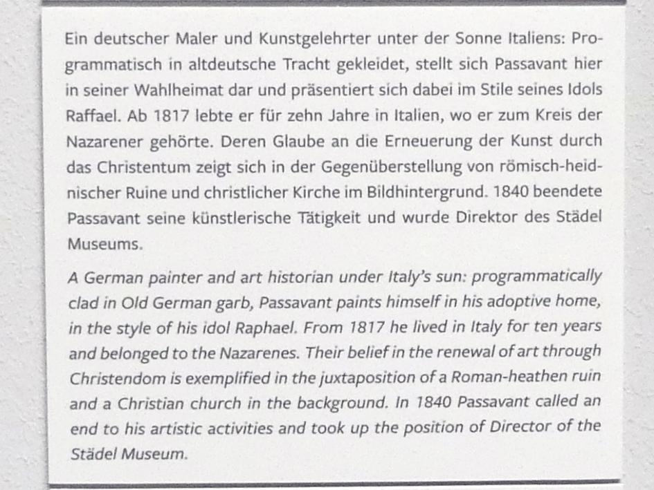 Johann David Passavant: Selbstbildnis mit Barett vor römischer Landschaft, 1818, Bild 3/4