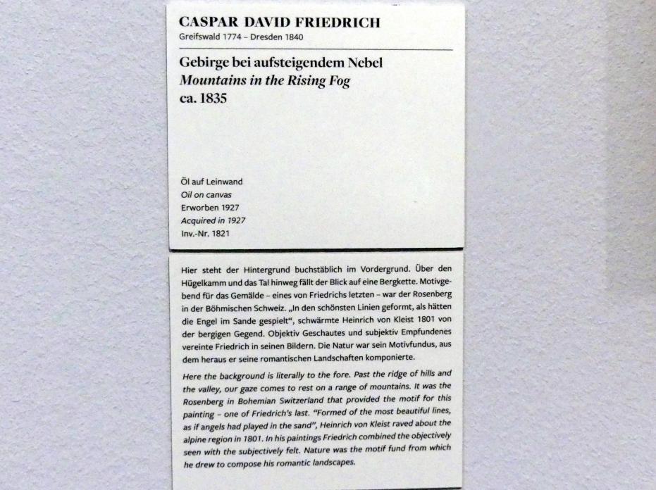Caspar David Friedrich: Gebirge bei aufsteigendem Nebel, um 1835, Bild 2/2