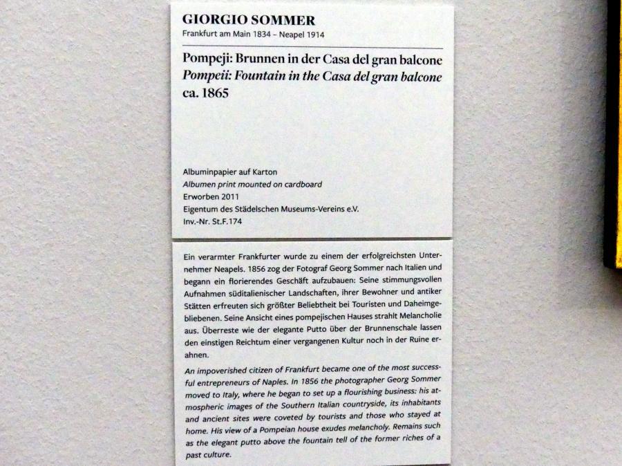 Giorgio Sommer: Pompeji: Brunnen in der Casa del gran balcone, um 1865, Bild 2/2
