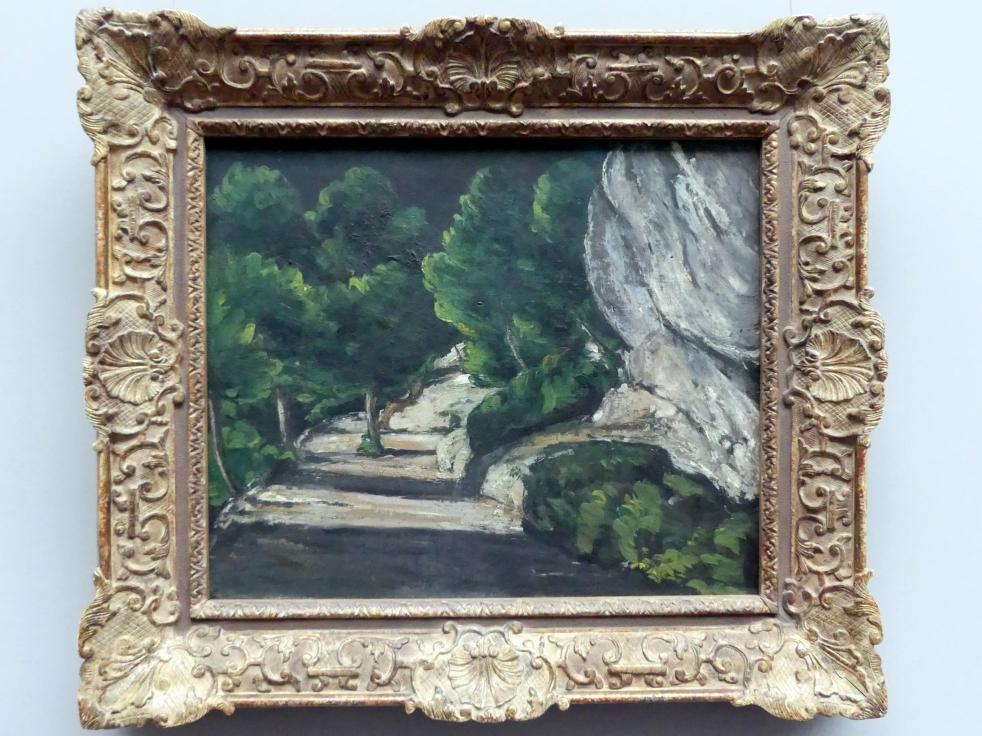 Paul Cézanne: Landschaft, Straße mit Bäumen im Felsgebirge, um 1870 - 1871