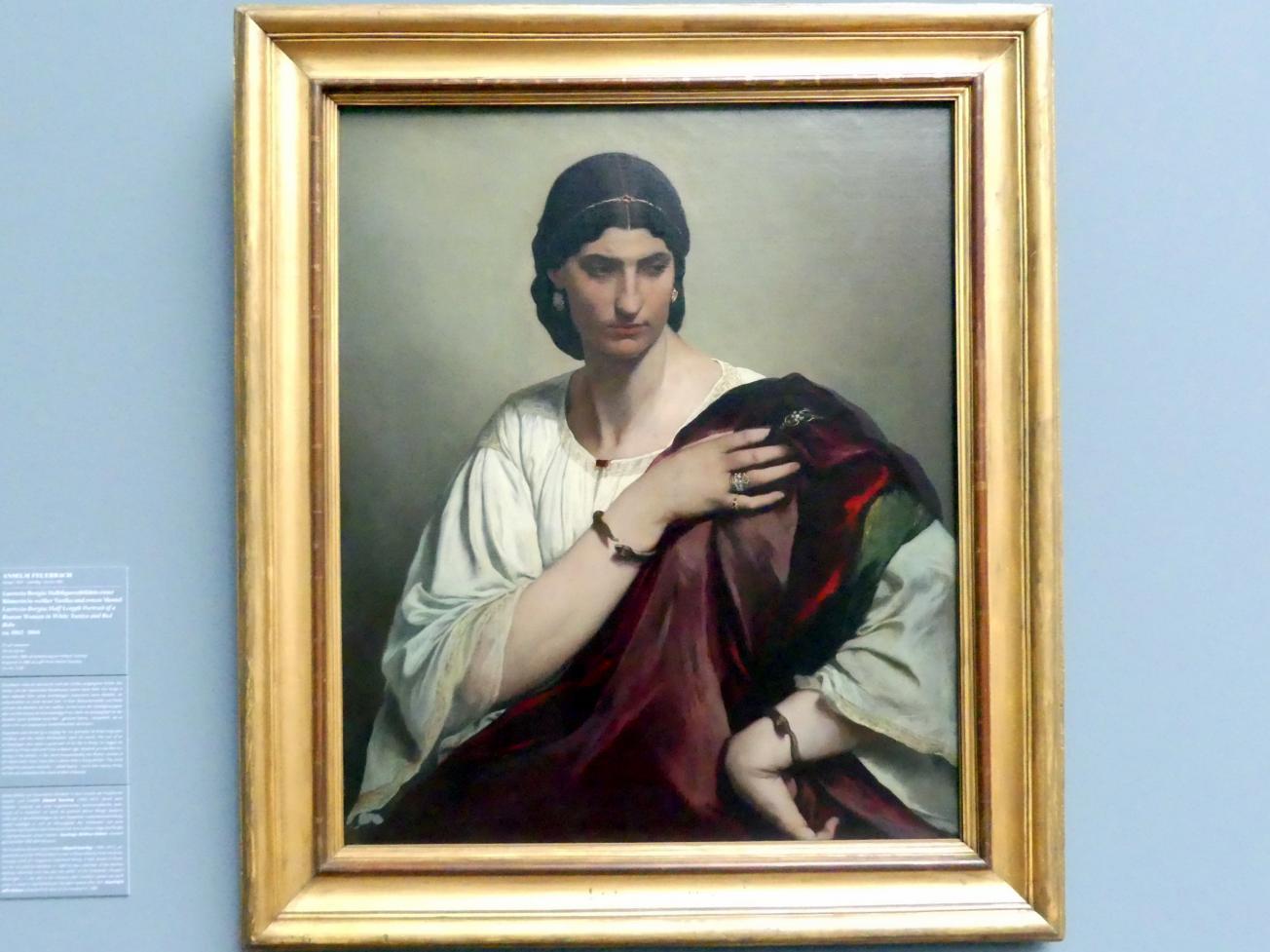Anselm Feuerbach: Lucrezia Borgia; Halbfigurenbildnis einer Römerin in weißer Tunika und rotem Mantel, um 1862 - 1866