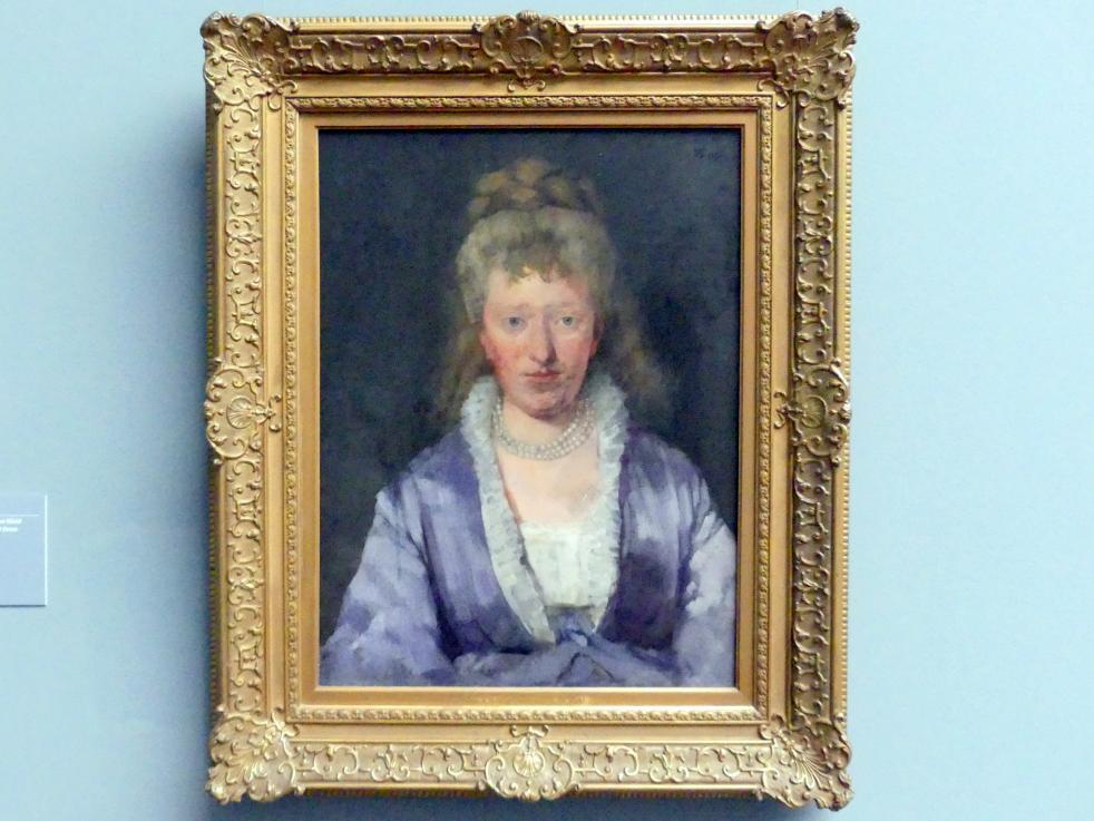 Wilhelm Trübner: Bildnis einer Dame in violettem Kleid, 1873
