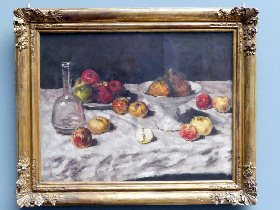 Carl Schuch: Stillleben mit Äpfeln, Birnen und einer Karaffe, um 1888