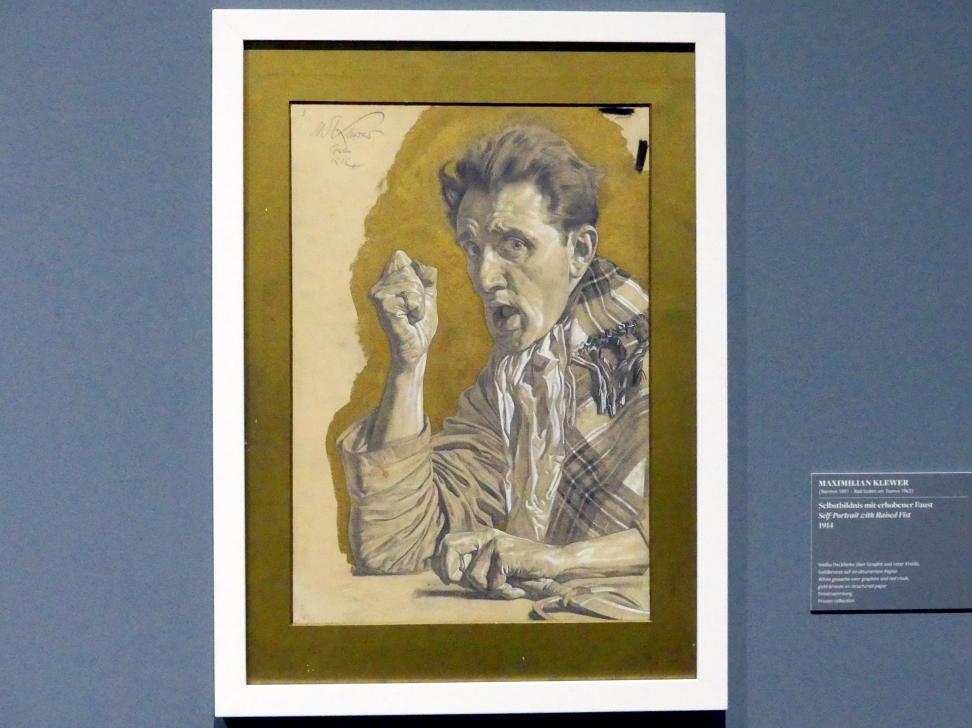 Maximilian Klewer: Selbstbildnis mit erhobener Faust, 1914