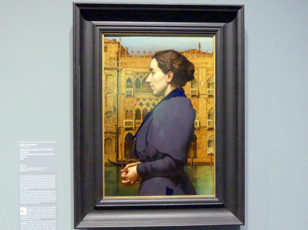 Karl von Pidoll: Bildnis Anna Cossmann vor der Ca' d'Oro in Venedig, 1894