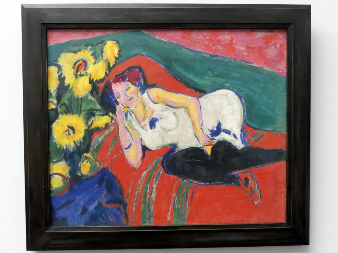 Ernst Ludwig Kirchner: Liegende Frau in weißem Hemd, um 1909