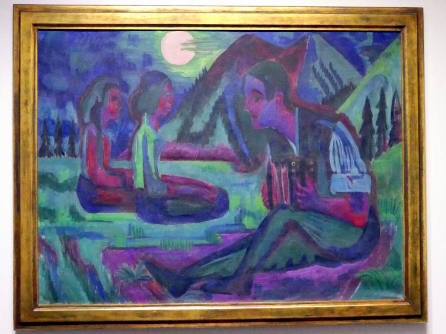 Ernst Ludwig Kirchner: Mondnacht; Handorgler in Mondnacht, 1924