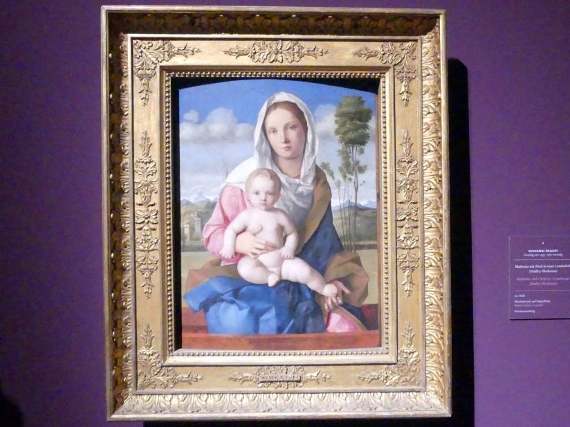 Giovanni Bellini: Madonna mit Kind in einer Landschaft (Dudley-Madonna), um 1508
