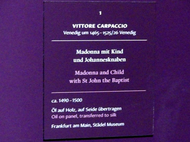 Vittore Carpaccio: Madonna mit Kind und Johannesknaben, um 1490 - 1500, Bild 2/2