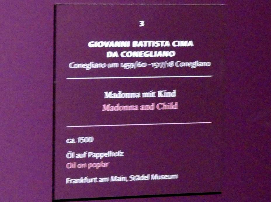 Giovanni Battista Cima (Cima da Conegliano): Madonna mit Kind, um 1500, Bild 2/2