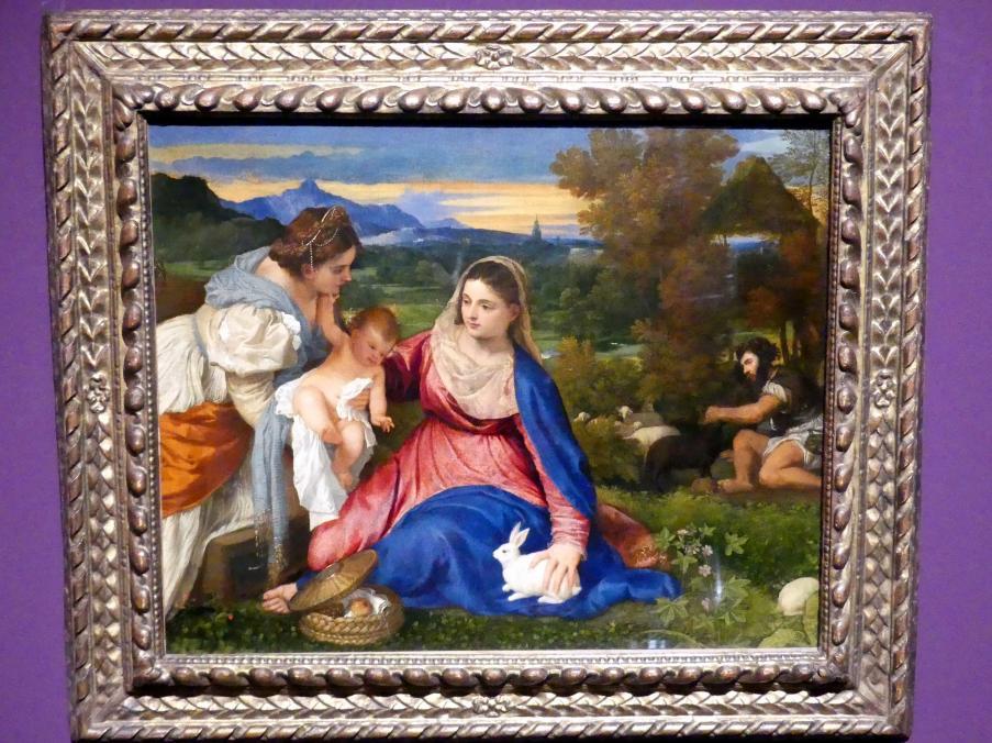 Tiziano Vecellio (Tizian): Madonna mit Kind, der heiligen Katharina sowie einem Hirten (Die Madonna mit dem Kaninchen), Um 1530