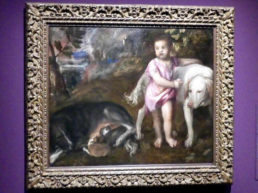 Tiziano Vecellio (Tizian): Knabe mit Hunden in einer Landschaft, um 1570 - 1576