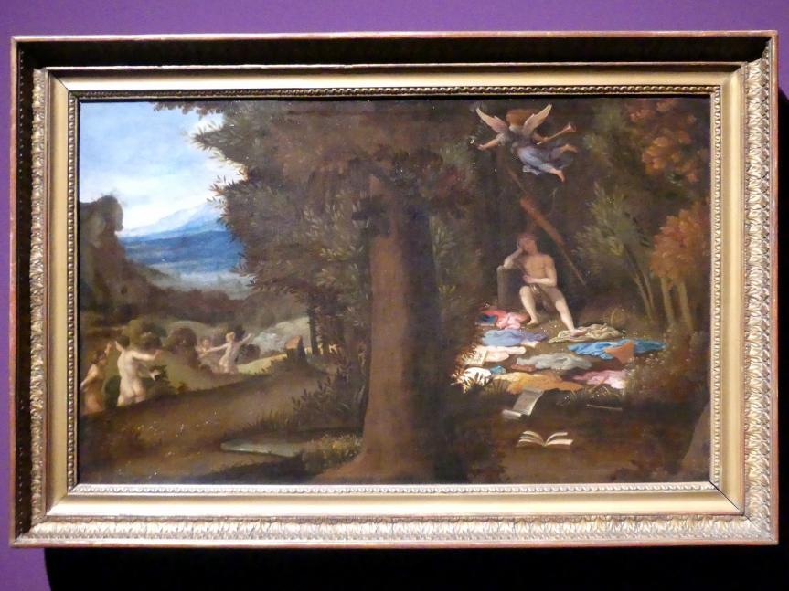 Lorenzo Lotto: Der schlafende Apoll und die vom Parnass entfliehenden Musen, um 1545 - 1549