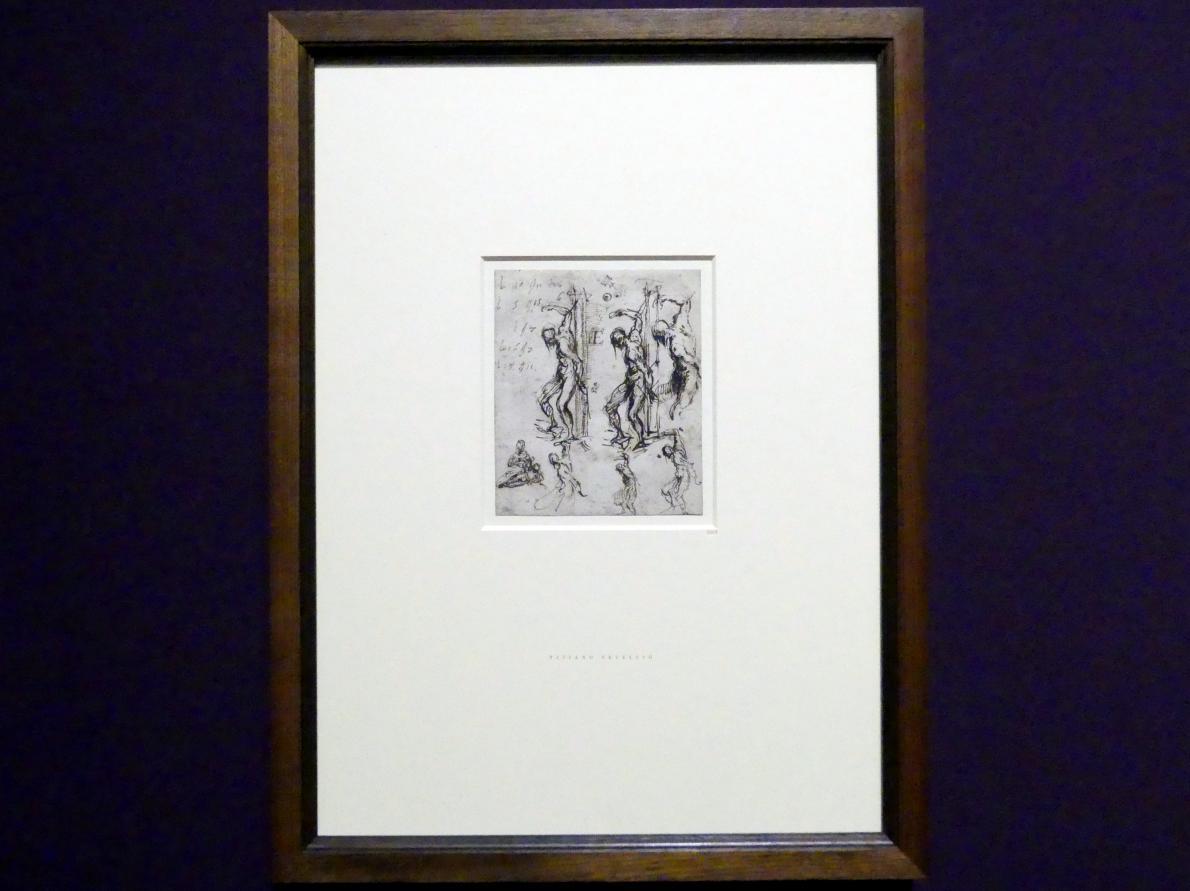 Tiziano Vecellio (Tizian): Sechs Studien für den heiligen Sebastian und eine Madonna mit Kind, Um 1520