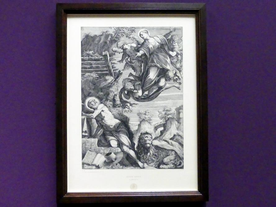Agostino Carracci: Maria erscheint dem heiligen Hieronymus (nach Jacopo Tintoretto), 1588