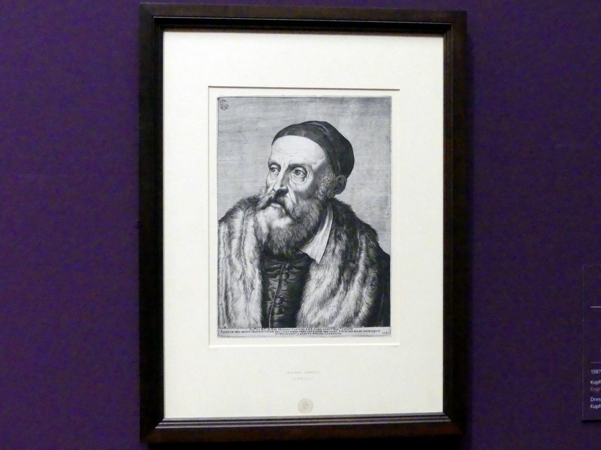 Agostino Carracci: Bildnis Tizians (nach Tizians Selbstbildnis), 1587
