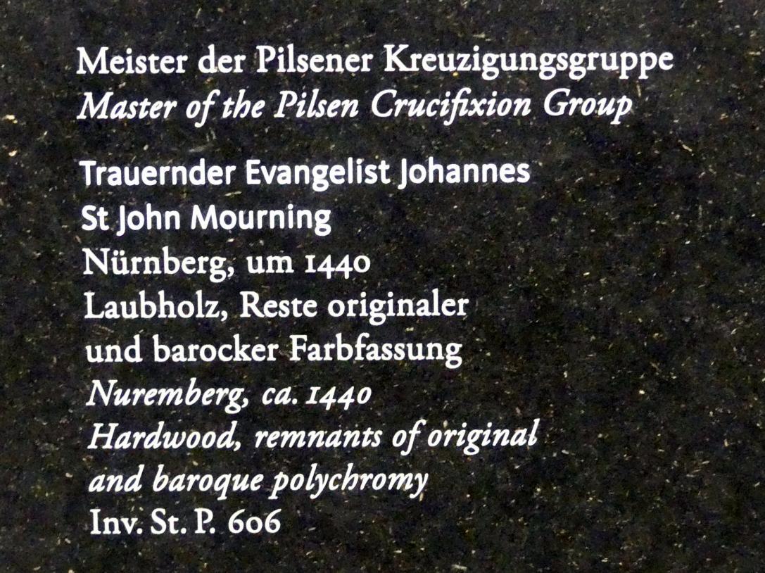 Meister der Pilsener Kreuzigungsgruppe: Trauernder Evangelist Johannes, um 1440, Bild 2/2