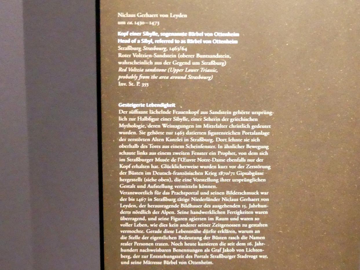 Nicolaus Gerhaert van Leyden: Kopf einer Sibylle, sog. Bärbel von Ottenheim, 1463 - 1464, Bild 3/3