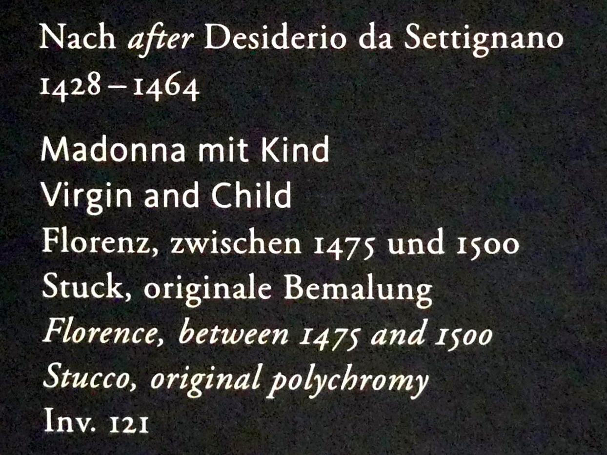 Desiderio da Settignano (Nachfolger): Madonna mit Kind, Um 1475 - 1500
