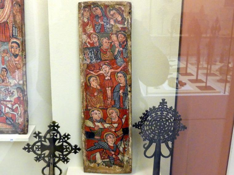 Linke Seitentafel einer Dreifaltigkeitsikone mit verschiedenen Szenen, um 1400 - 1600