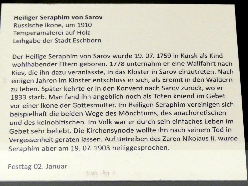 Heiliger Seraphim von Sarov, um 1910, Bild 2/2