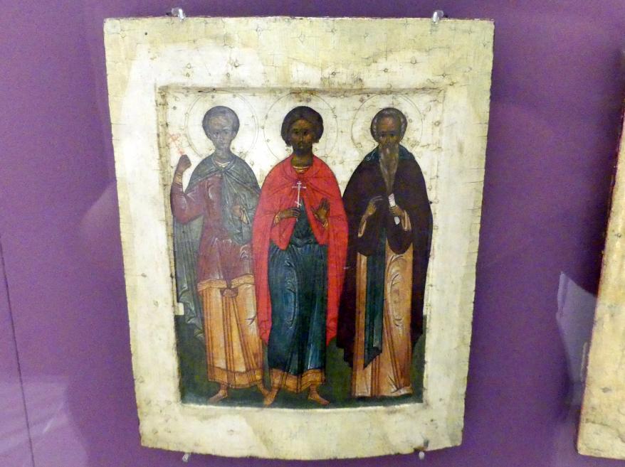 Zwei Heilige Märtyrer und ein Mönchsheiliger, Beginn 17. Jhd.