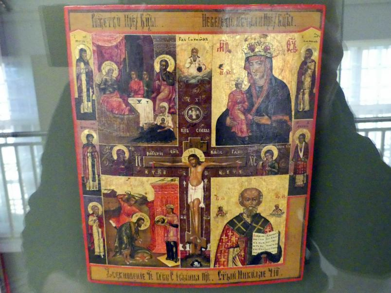 Mehrfelderikone mit Kreuzigung Christi, Mitte 19. Jhd.