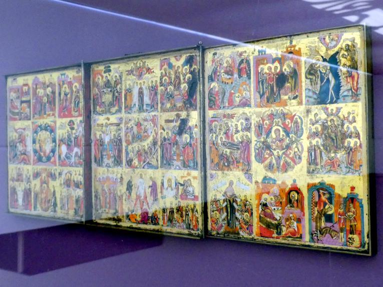 Triptychon mit den ostkirchlichen Festtagen und weiteren Darstellungen, Beginn 19. Jhd.