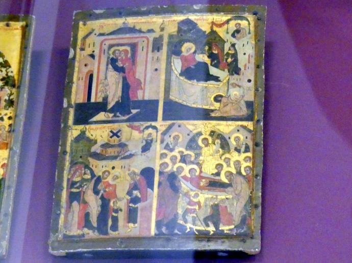 Flügel eines Marientriptychons mit vier Szenen aus dem Leben der Gottesmutter, 18. Jhd.