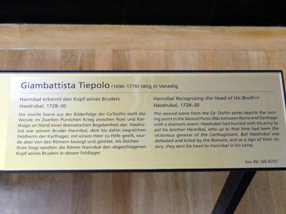Giovanni Battista Tiepolo: Hannibal erkennt den Kopf seines Bruders Hasdrubal, 1728 - 1730