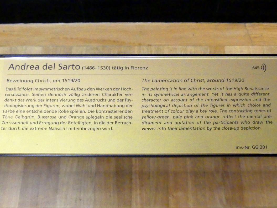 Andrea del Sarto: Beweinung Christi, Um 1519 - 1520