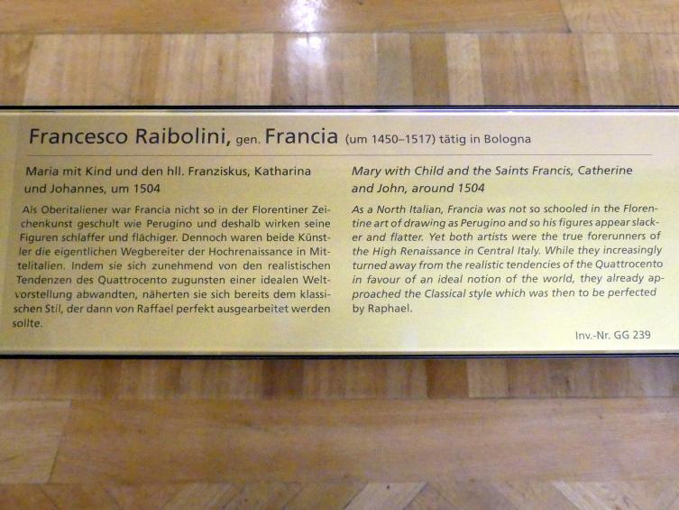 Francesco Francia (Raibolini): Maria mit Kind und den hll. Franziskus, Katharina und Johannes, Um 1504