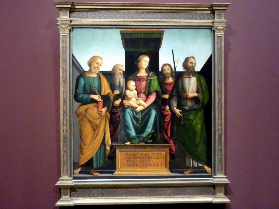Pietro Perugino (Pietro di Cristoforo Vannucci): Maria mit dem Kind und vier Heiligen, 1493