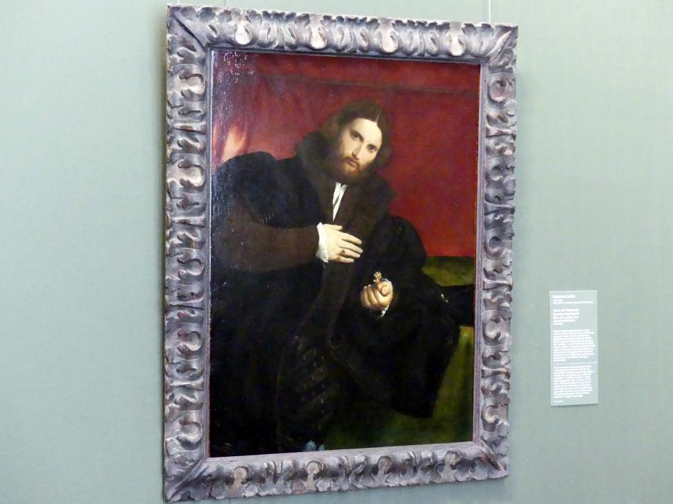 Lorenzo Lotto: Mann mit Tierpranke (Leonino Brembate?), um 1524 - 1525