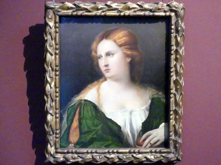 Jacopo Palma il Vecchio (Jacomo Nigretti de Lavalle): Junge Frau in grünem Kleid, um 1512 - 1514, Bild 1/2