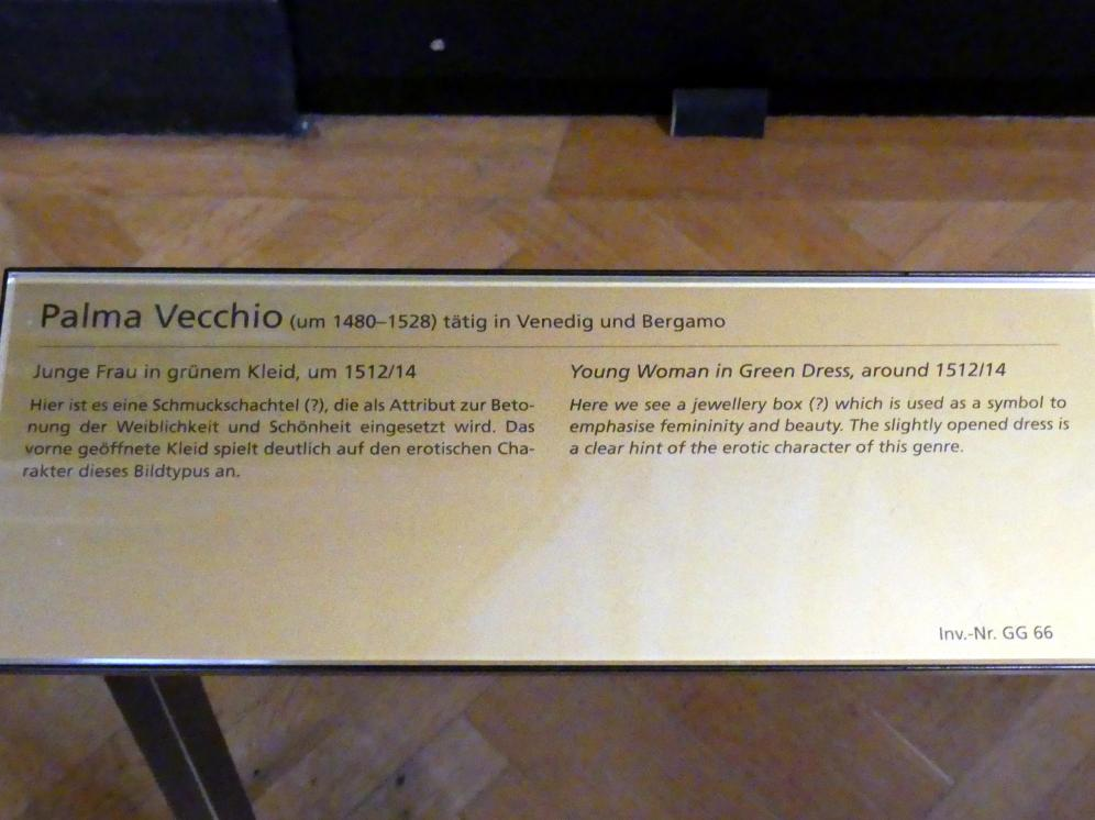 Jacopo Palma il Vecchio (Jacomo Nigretti de Lavalle): Junge Frau in grünem Kleid, Um 1512 - 1514